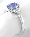 Natural Oval Blue Saphire and Trillion Sapphire Ring in 14k white gold. Without Diamonds.