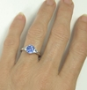 Diamond Alternative Engagement Ring - Blue and White Sapphire 3 Stone Ring in white gold.