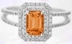 Natural Emerald Cut Orange Sapphire Ring with Diamond Halo in 14k white gold