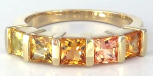 Princess Sapphire Ring Band - Shades of Orange to Yellow Sapphire in 14k yellow gold