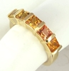 Princess Sapphire Band Ring - Graduated Shades of Orange to Yellow Sapphire in 14k yellow gold