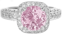 Natural Pink Sapphire Ring - Round Sapphire with Diamond Halo in White Gold
