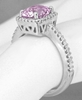 Natural Radiant Pink Sapphire Ring with Diamond Halo - looks like a pink diamond