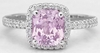 Radiant Pink Sapphire Ring with Diamond Halo - looks like a pink diamond