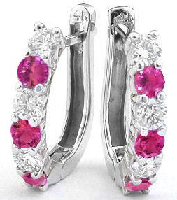 Hot Pink Sapphire Earrings
