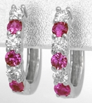 Alternating Round Natural Pink Sapphire and Real Diamond Earrings in solid 14k white gold