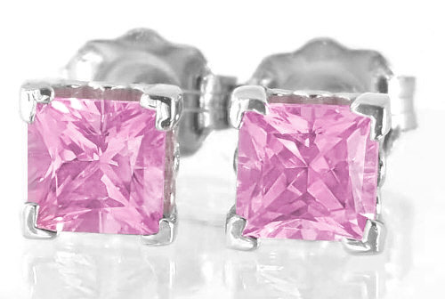 4mm Princess Cut Pink Sapphire Earrings