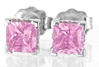 Princess Cut Pink Sapphire Earrings
