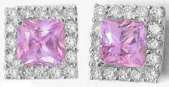 Princess Cut Pink Sapphire Earrings in white gold
