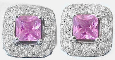 Pink Sapphire Pave Diamond Earrings