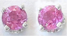 Round Natural Pink Sapphire Stud Earrrings in 14k White Gold. Real 5mm Pink Sapphires.