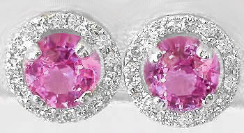 Round Pink Sapphire Diamond Earrings