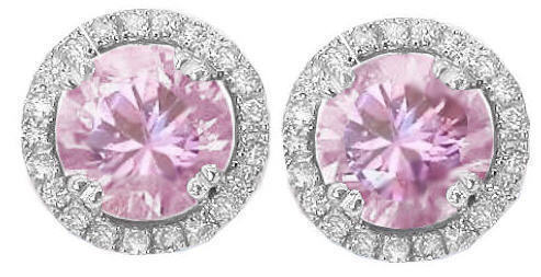 Round Light Pink Sapphire Diamond Earrings