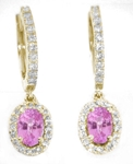 Oval Pink Sapphire Earrings with Diamond Halo in 14k yellow gold