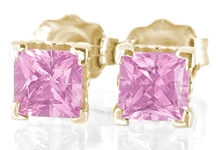 Natural pink sapphire pincess cut stud earrings in yellow gold