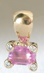 Natural Emerald Cut Pink Sapphire Solitaire Pendant in 14k yellow gold