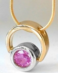 Natural Pink Sapphire Solitaire Pendant in 14k white and yellow gold