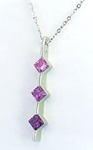 Natural Princess Cut Pink and Purple Line Pendant in 14k white gold
