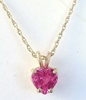 Natural Heart Cut Bright Pink Sapphire Solitaire Pendant Necklace in 14k yellow gold