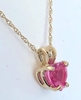Heart Cut Genuine Pink Sapphire Solitaire Pendant Necklace in 14k yellow gold