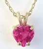 Heart Cut Genuine Pink Sapphire Solitaire Pendant Necklace in 14k yellow gold with Gold Chain.