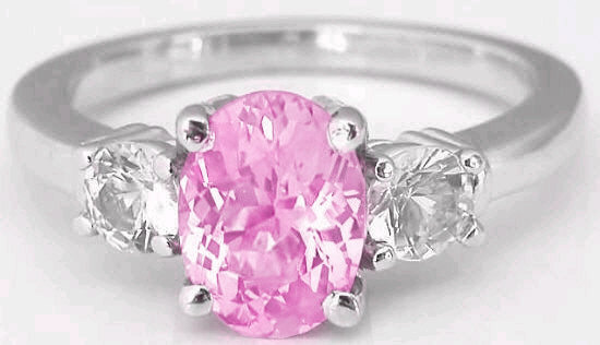 Pink Sapphire Ring - Oval Pink Sapphire and White Sapphire Ring in 14k white gold