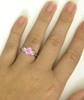 Genuine Pastel Oval Pink Sapphire and White Sapphire Past Present Future Ring