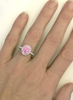 Hand Picture of Oval Pink Sapphire and Diamond Ring in 14k white gold