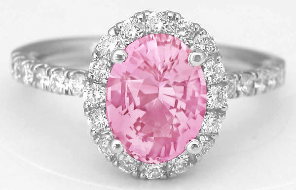 Oval Pink Sapphire and Diamond Ring in 14k white gold - 2.84 carat total weight