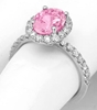 Fine Oval Pink Sapphire and Diamond Ring in 14k white gold - 2.84 carat total weight