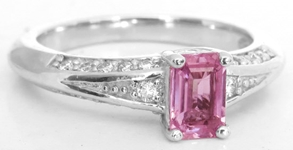 Genuine Womens Emerald Cut Pink Sapphire Ring with Diamonds in 14k white gold