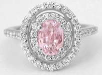 Natural Peachy Pink Sapphire Ring in White Gold