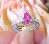 Antique Style Natural Pear Cut Pink Sapphire Ring with Real Baguette Diamonds in solid 18k white gold