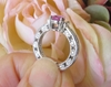 Pear Cut Natural Pink Sapphire Ring with Real Baguette Diamonds in solid 18k white gold - Vintage Design