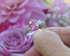 Cushion Cut Natural Pink Sapphire Ring with Princess Cut Diamonds in solid Platinum
