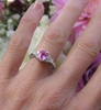 Natural Pink Sapphire Ring - Oval Cut with real diamond sides in a solid 14k White Gold setting for sale