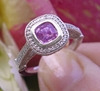 Platinum Natural 6mm Cushion Pink Sapphire Engagement Ring with Real Diamond Halo for sale