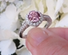 Round Natural Pink Sapphire Engagement Ring with Real Diamond Halo in a 14k white gold band for sale