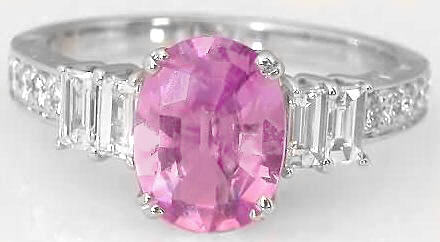 3 carat Oval Pink Sapphire Ring with Baguette Diamonds