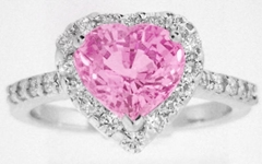 3 carat Heart Pink Sapphire Ring with Diamond Halo in 14k white gold