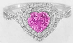 Heart Shape Pink Sapphire Ring with Diamond Halo in 14k white gold