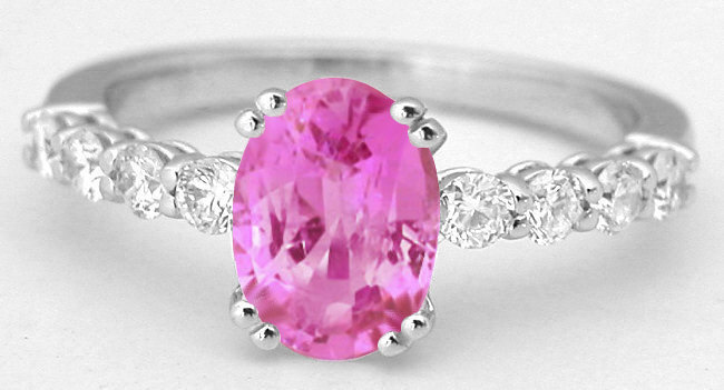 Natural Oval Pink Sapphire Ring with Diamonds in 14k white gold
