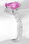 White Gold Oval Pink Sapphire Ring with Diamonds