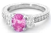 Oval Pink Sapphire Three Stone Ring with Oval Diamonds in 14k white gold