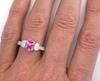 Genuine Fine Pink Sapphire Three Stone Ring with Oval Diamonds in 14k white gold