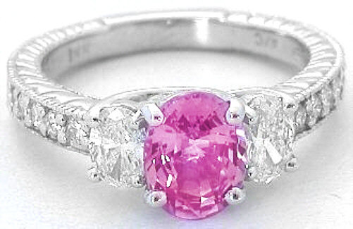 Oval Pink Sapphire and Oval Diamond Three Stone Ring in 14k white gold