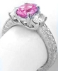 Natural Fine Pink Sapphire Three Stone Ring with Oval Diamonds in 14k white gold