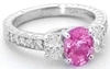 Oval Pink Sapphire Past Present Future Ring with Oval Diamonds in 14k white gold