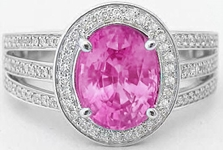 Oval Bright Pink Sapphire Rings