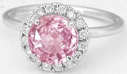 Real Round Peachy Pink Sapphire Ring with a Diamond Halo in simple white gold band